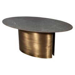 Custom Oval Porcelain Top Dining Table with Brass Demi Lune Base by Carrocel