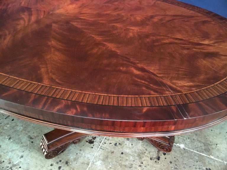 Custom Oval Regency Style Mahogany Dining Table by Leighton Hall For Sale 5