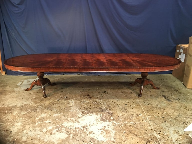 Custom Oval Regency Style Mahogany Dining Table by Leighton Hall For Sale 6