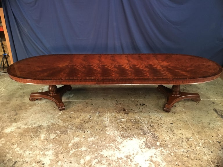 American Custom Oval Regency Style Mahogany Dining Table by Leighton Hall For Sale