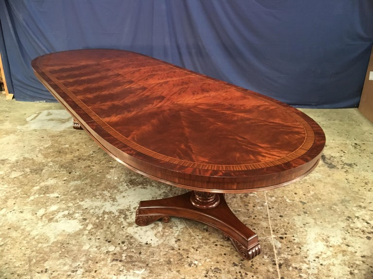 Custom Oval Regency Style Mahogany Dining Table by Leighton Hall In New Condition For Sale In Suwanee, GA