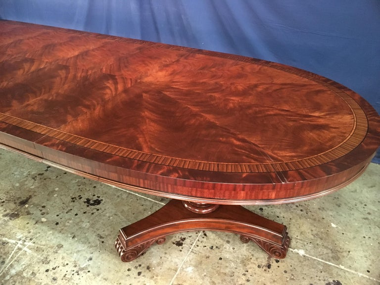 Custom Oval Regency Style Mahogany Dining Table by Leighton Hall For Sale 2