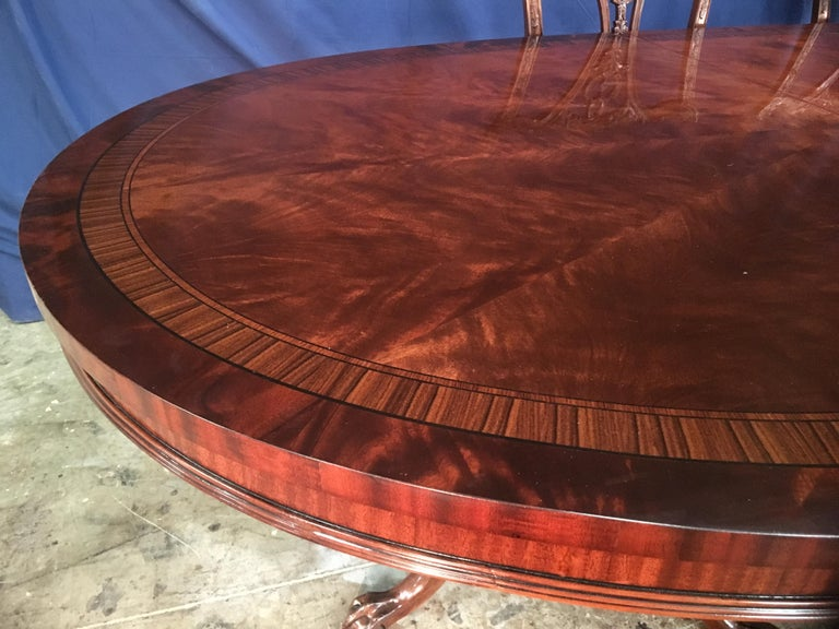 Custom Oval Regency Style Mahogany Dining Table by Leighton Hall For Sale 4