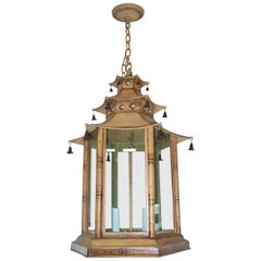 Custom Pagoda-Shaped, Hand Painted Tole Fixtures