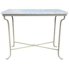 Custom Painted Iron Conservatory Table or Console, White Carrara Top circa 1930s