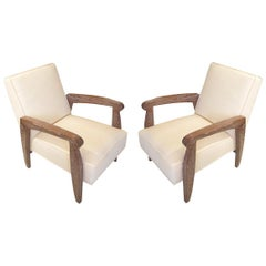 Custom Pair of Cerused Oak Lounge Chairs in the French 1940s Manner