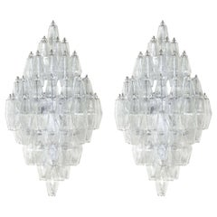 Custom Pair of Clear Murano Glass Polyhedral Sconces with Chrome Frame, Italy