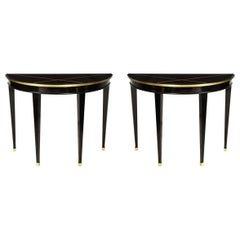 Custom Pair of Ebonized Demilune Consoles with Inlaid Brass Top