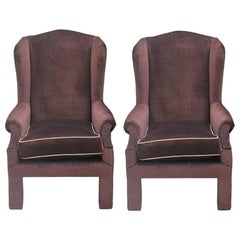 Custom Pair of Elegant Brown Velvet Parson Style Wingback Lounge Chairs
