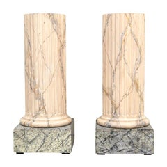 Custom Pair of Faux Marble Painted Fluted Coulumn Pedestals