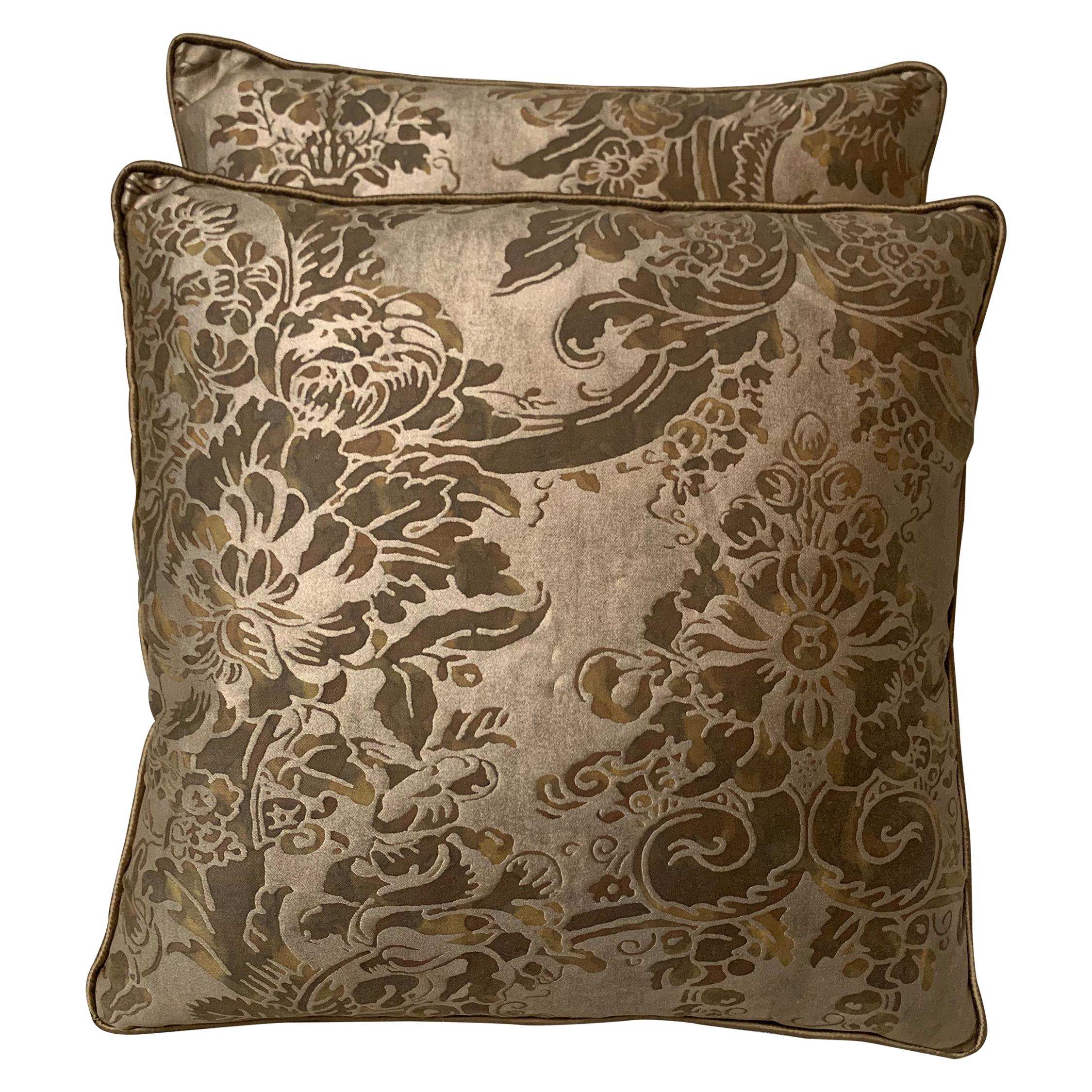 Custom Pair of Fortuny Pillows with Silk Backs