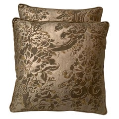Custom Pair of Fortuny Pillows with Silk Backs