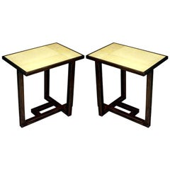 Custom Pair of French Parchment Covered Side / End Tables after Paul Dupré-Lafon