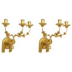 Custom Pair of Giltwood Hand Carved Sconces