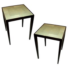 Custom Pair of Handcrafted Shagreen End Tables