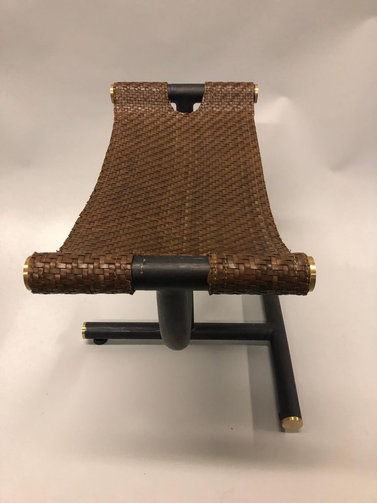 Custom Pair of Italian Iron, Brass & Braided Leather Stools / Benches for Gucci For Sale 5