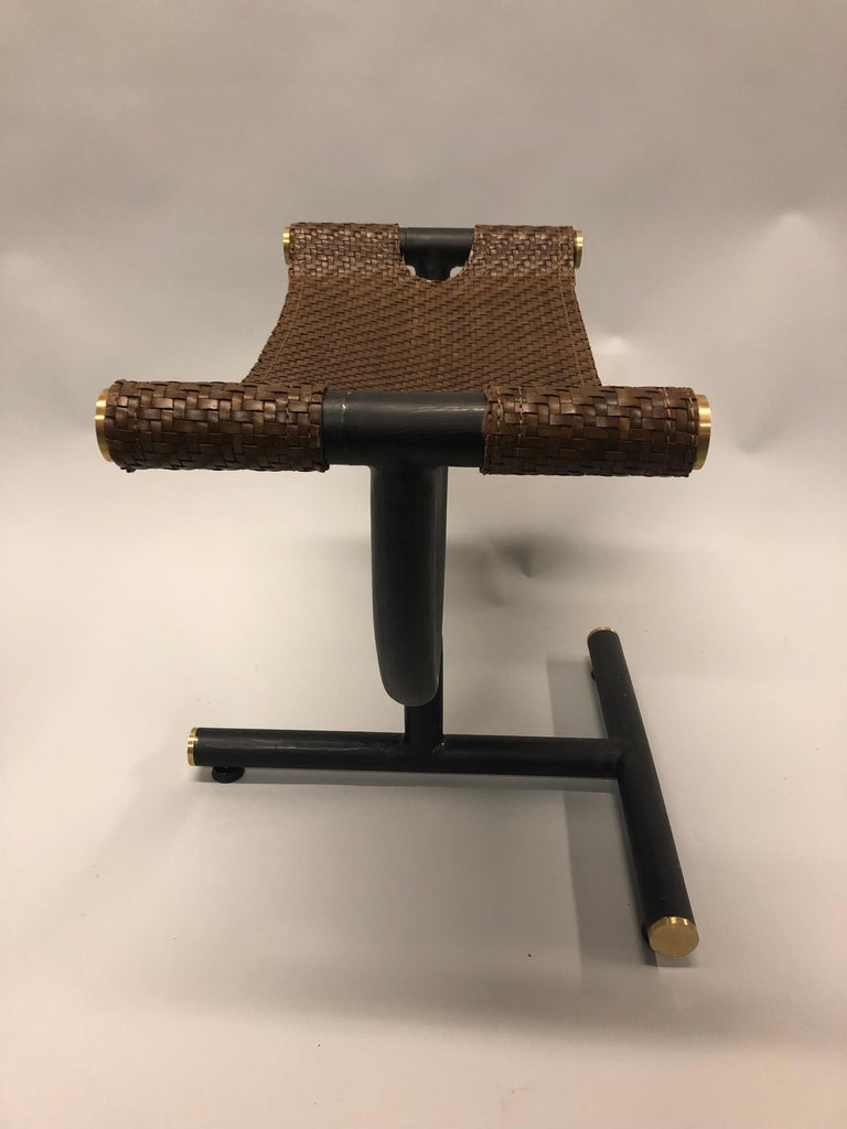 Custom Pair of Italian Iron, Brass & Braided Leather Stools / Benches for Gucci For Sale 6