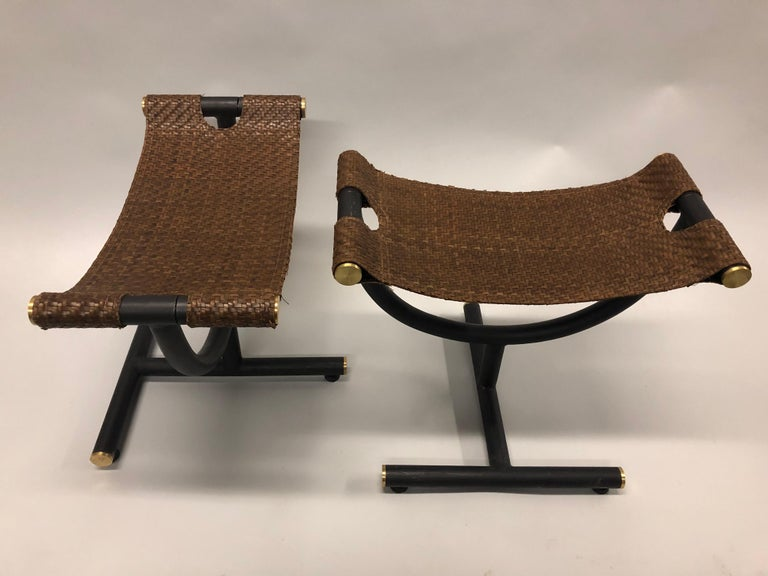 Custom Pair of Italian Iron, Brass & Braided Leather Stools / Benches for Gucci In Good Condition For Sale In New York, NY