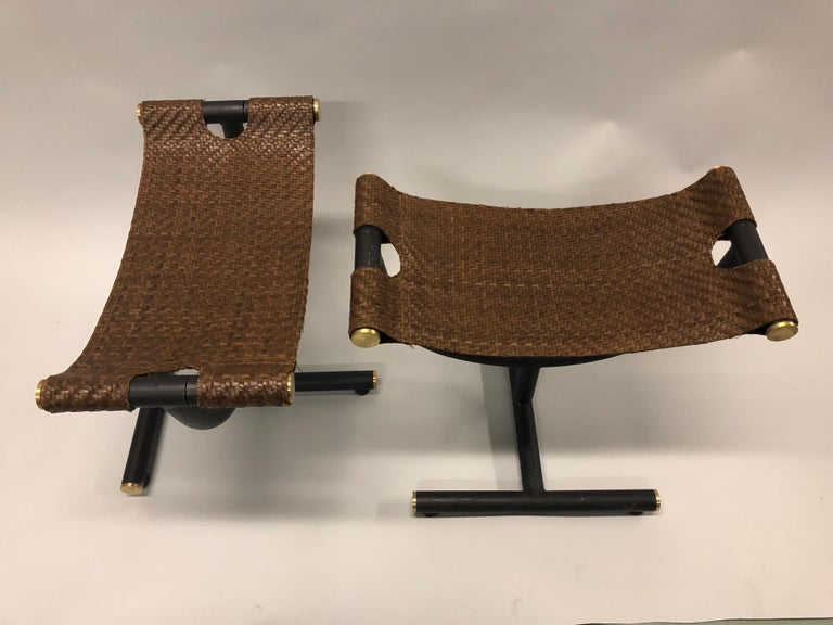 20th Century Custom Pair of Italian Iron, Brass & Braided Leather Stools / Benches for Gucci For Sale