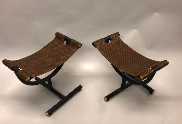 Custom Pair of Italian Iron, Brass & Braided Leather Stools / Benches for Gucci For Sale 1