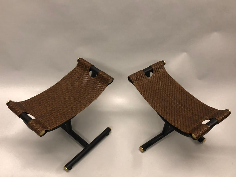 Custom Pair of Italian Iron, Brass & Braided Leather Stools / Benches for Gucci For Sale 2