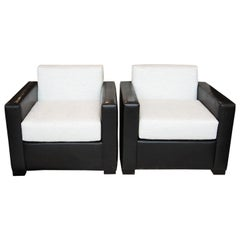 Custom Pair of Leather and Raw Silk Tuxedo Club Chairs