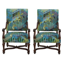 Custom Pair of Louis XVI French Armchairs in Tropical Geometric Miami Upholstery