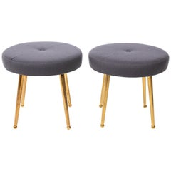 Custom Pair of Midcentury Style Round Stools with Brass Legs