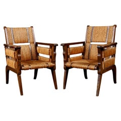 Custom Pair of Oak Caned Lounge Chairs