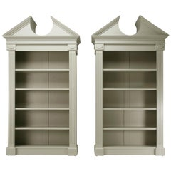 Custom Pair of Painted Bookcases with a Broken Pediment Handmade in Chicago