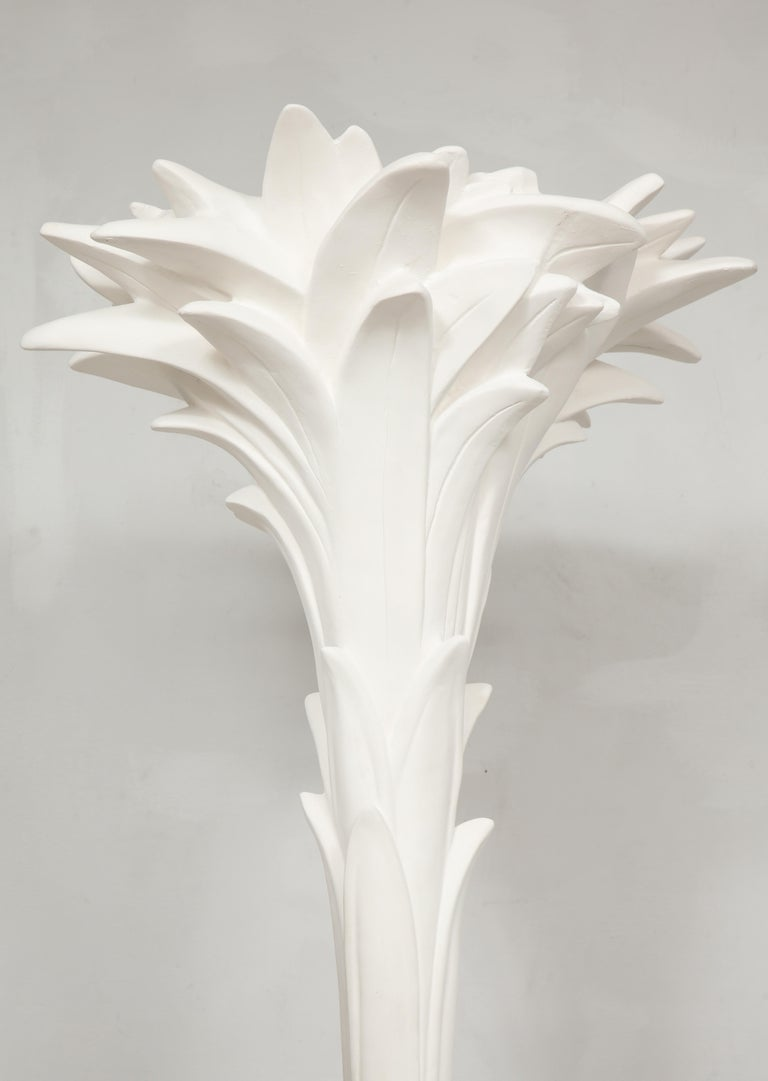Modern Custom Pair of Plaster Torchieres in the Serge Roche Manner For Sale