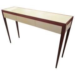 Custom Parchment and Mahogany Console with Three Drawers