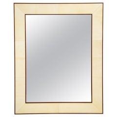 Custom Parchment Mirror with Mahogany Frame