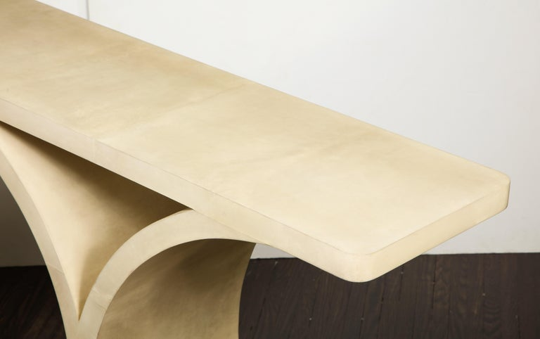 Mid-Century Modern Custom Parchment O-Console For Sale