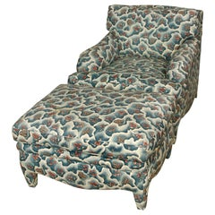 Custom Parsons Leg Upholstered Chair and Ottoman