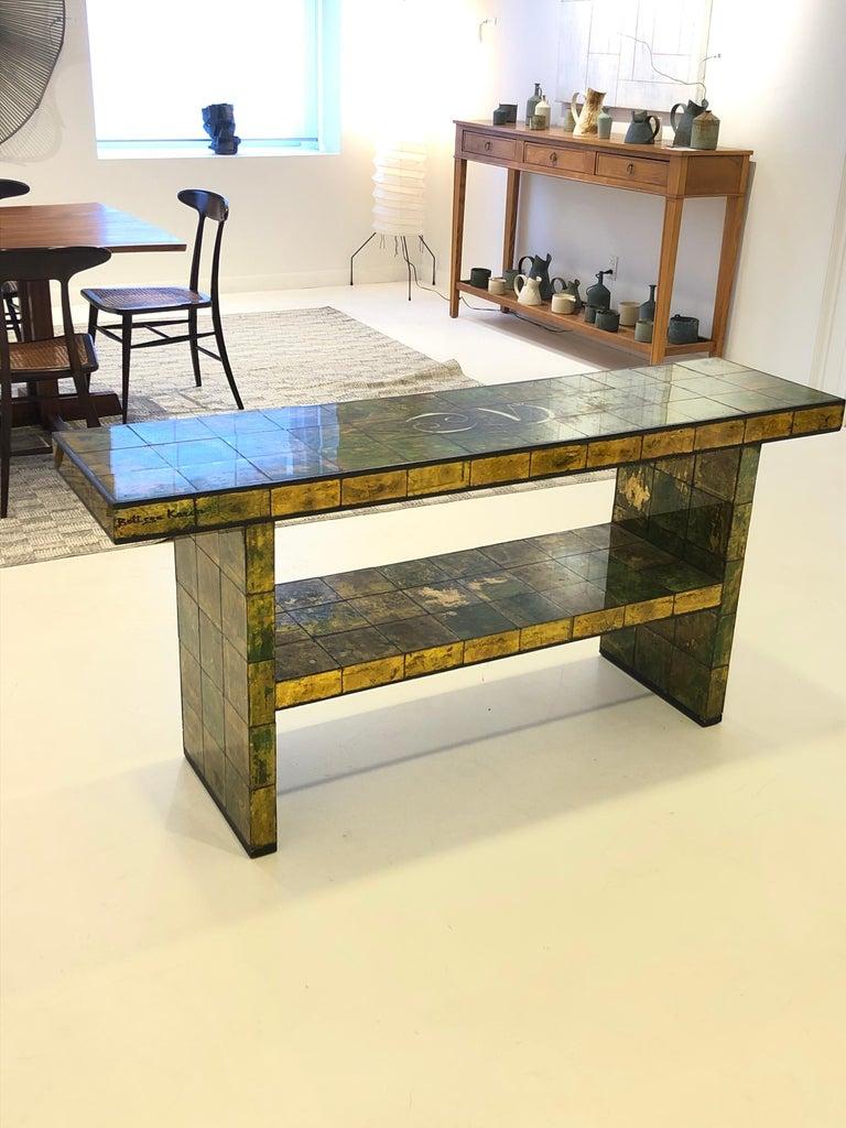 North American Custom Paul Laszlo Verre Églomisé Console Table For Sale