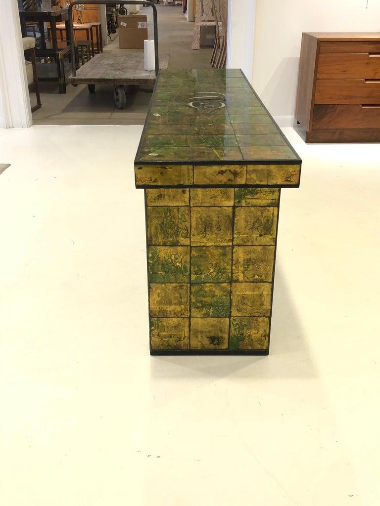 Painted Custom Paul Laszlo Verre Églomisé Console Table For Sale