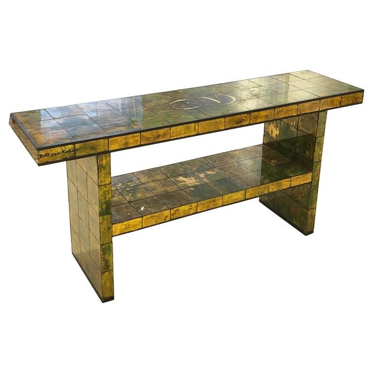 Custom Paul Laszlo Verre Églomisé Console Table For Sale