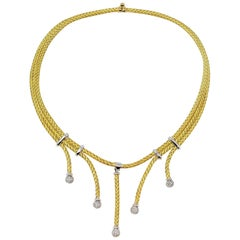 Custom Pave Diamond Braided Cable Choker Necklace 18 Karat Yellow and White Gold