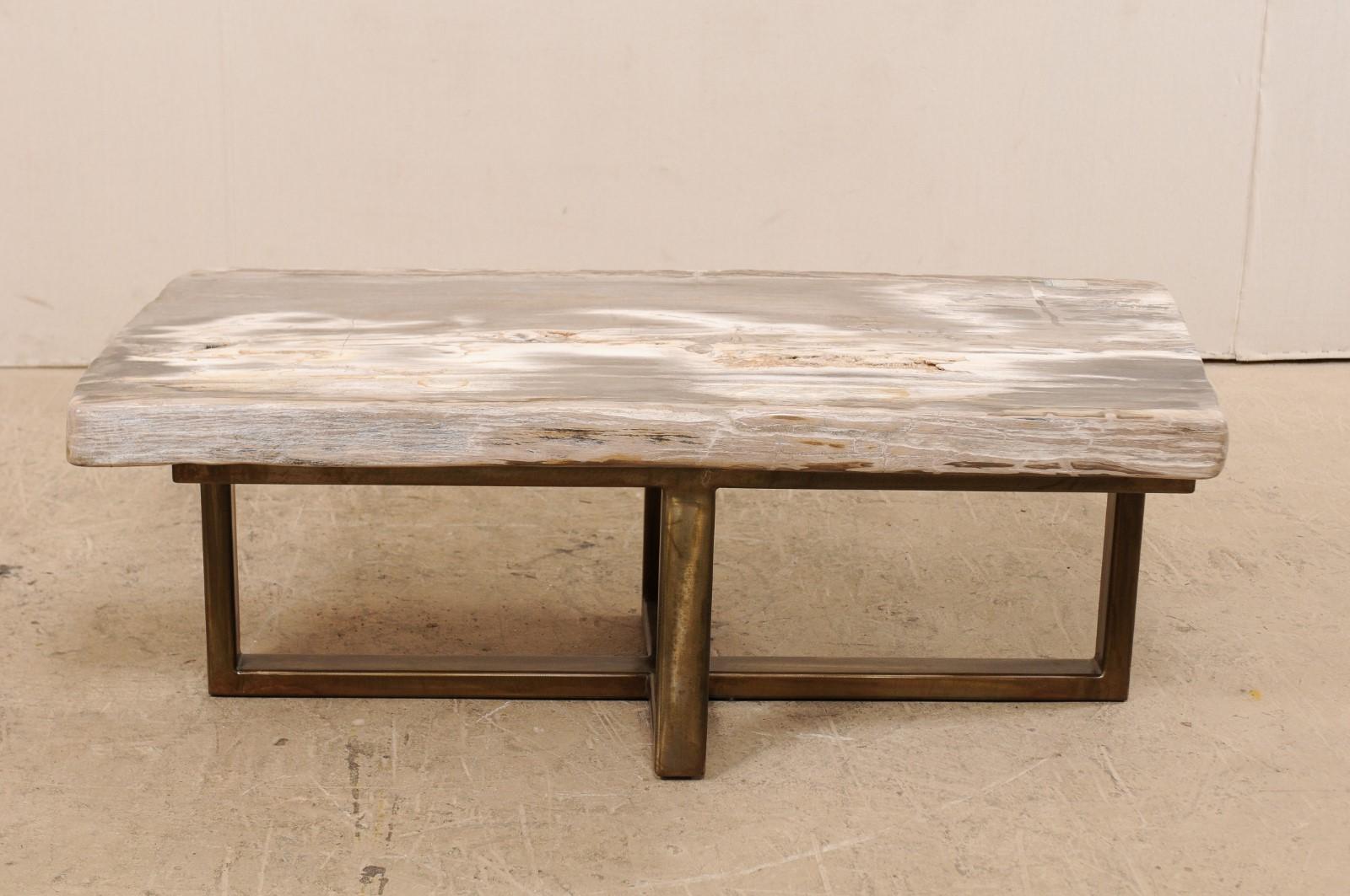 Custom petrified wood coffee table with modern metal base for sale at 1stdibs