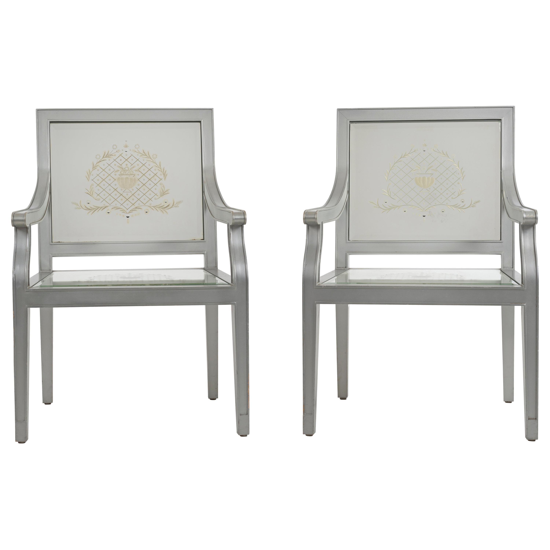 Custom Phillip Starck Mirrored Louis XVI Style Chairs, Cliff Hotel San Francisco