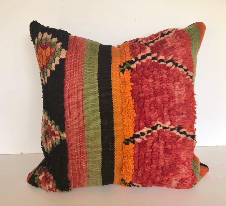 Custom Pillow by Maison Suzanne Cut from a Hand Loomed Wool Moroccan Berber Rug For Sale 4