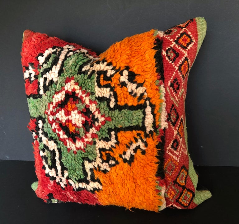 Custom Pillow by Maison Suzanne Cut from a Hand Loomed Wool Moroccan Berber Rug For Sale 5