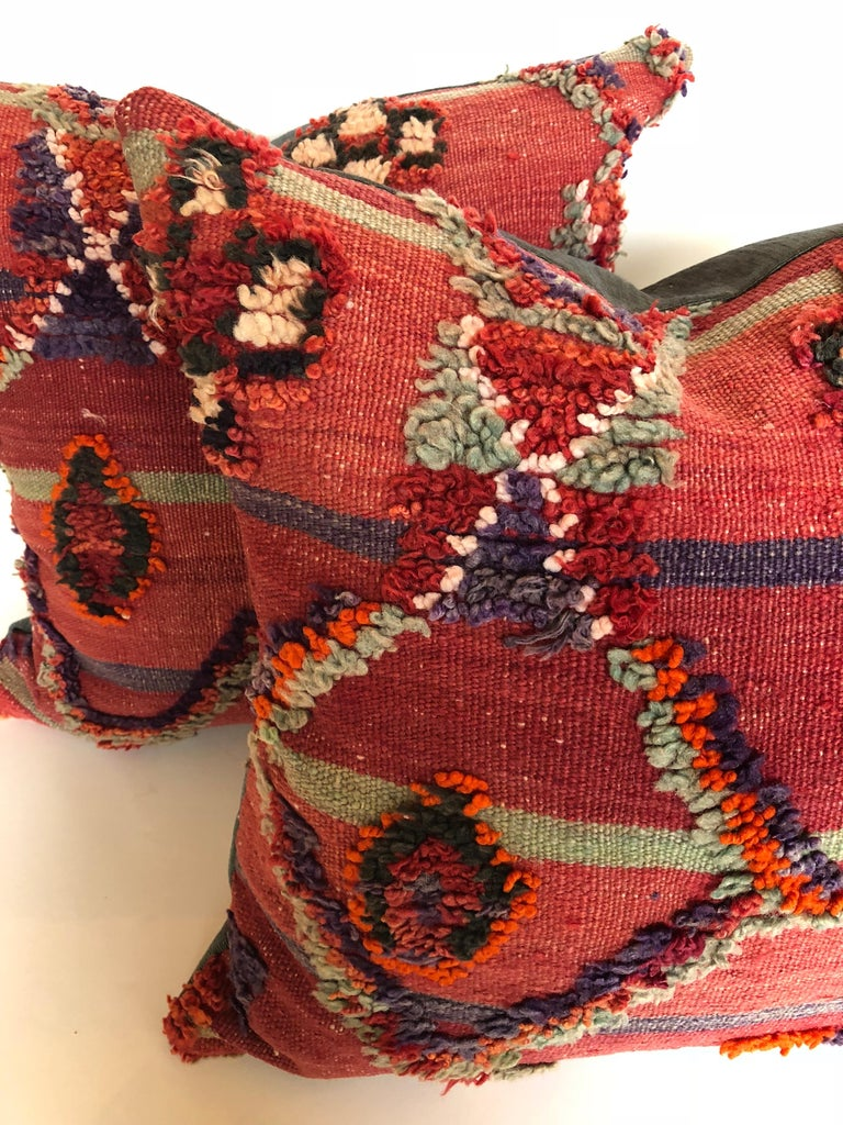 Tribal Custom Pillow by Maison Suzanne Cut from a Hand Loomed Wool Moroccan Berber Rug For Sale