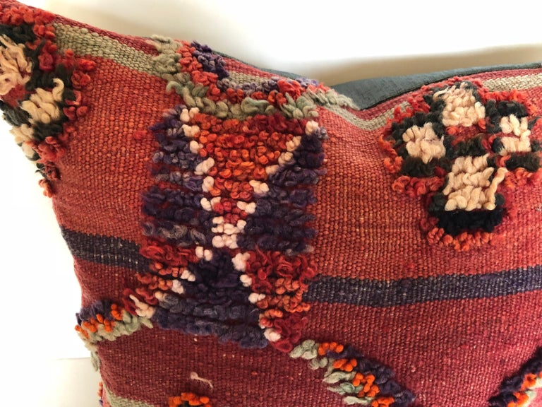 Hand-Woven Custom Pillow by Maison Suzanne Cut from a Hand Loomed Wool Moroccan Berber Rug For Sale
