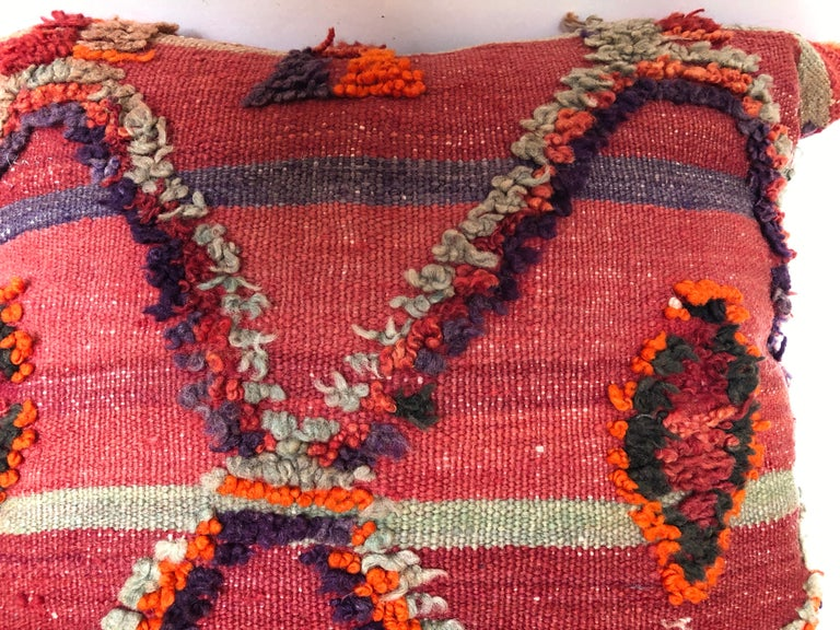 Custom Pillow by Maison Suzanne Cut from a Hand Loomed Wool Moroccan Berber Rug In Good Condition For Sale In Glen Ellyn, IL