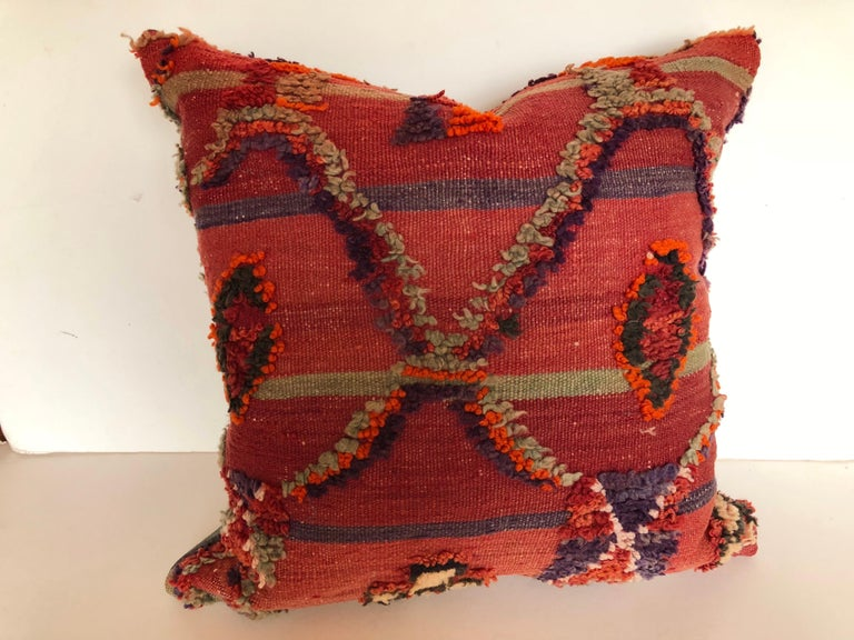 20th Century Custom Pillow by Maison Suzanne Cut from a Hand Loomed Wool Moroccan Berber Rug For Sale