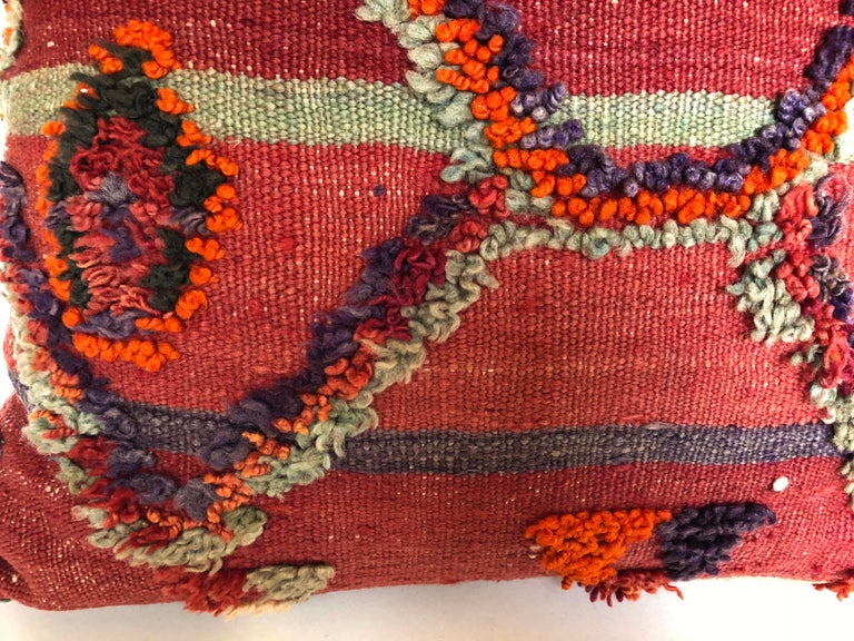Custom Pillow by Maison Suzanne Cut from a Hand Loomed Wool Moroccan Berber Rug For Sale 1