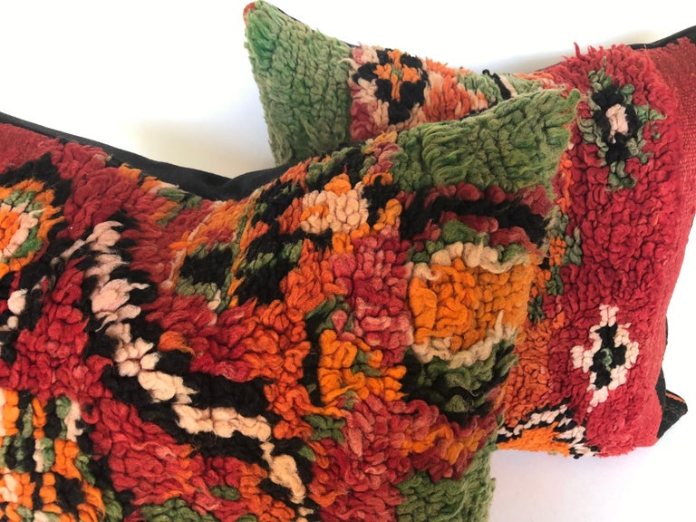 Custom Pillow by Maison Suzanne Cut from a Hand Loomed Wool Moroccan Berber Rug For Sale 2