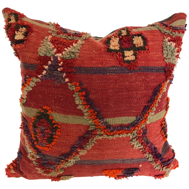 Custom Pillow by Maison Suzanne Cut from a Hand Loomed Wool Moroccan Berber Rug For Sale